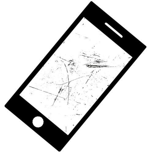 ガラス表面に傷のあるiPhoneの画像