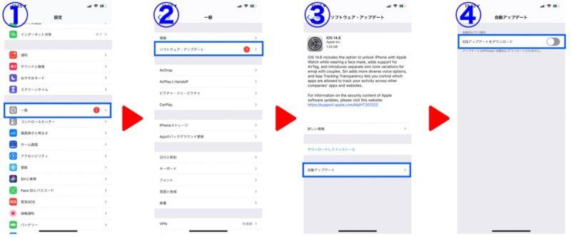iOS自動アップデート設定方法