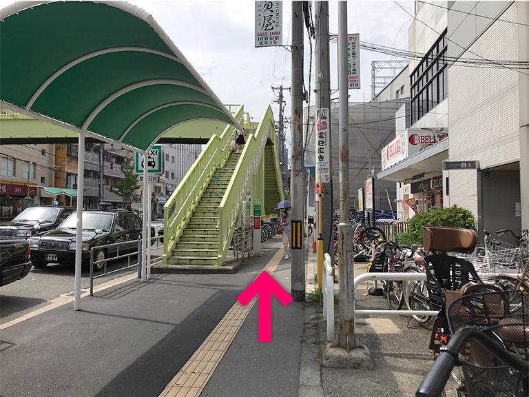道沿いに進みます【電車でのスマホバスター西九条店へのアクセス】